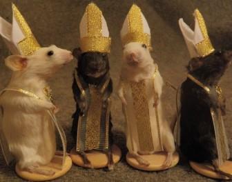 Figury szachowe zrobione z wypchanych myszy