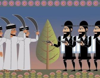 Konflikt izraelsko-palestyński zilustrowany gorzką, ironiczną animacją