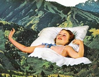 Surrealistyczne kolaże zdjęć wyciętych ze starych czasopism