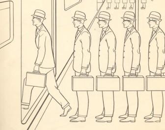 Satyryczna kolorowanka z 1961 r. ukazująca życie pracownika korporacji