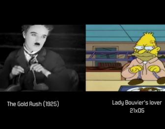 """Kompilacja fragmentów """"Simpsonów"""" zestawionych ze scenami z filmów, do których te fragmenty nawiązują"""